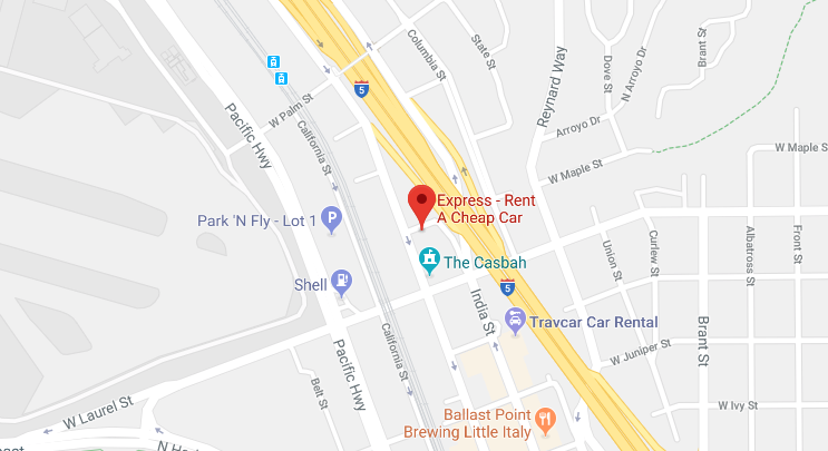 Google Map of Express Rent a Cheap Car San Diego